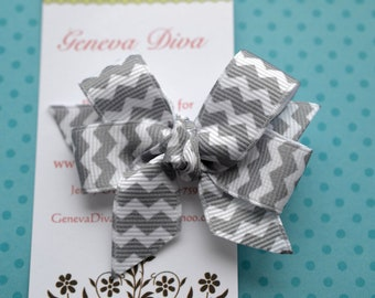 Gray and White Chevron MINI Diva Bow