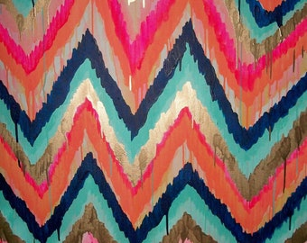 Custom ikat chevron 36x36 Painting by Jennifer Moreman