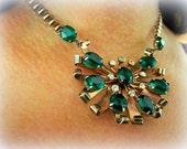 Vintage Necklace Sterling On Copper  Emerald Cut Stones Floral
