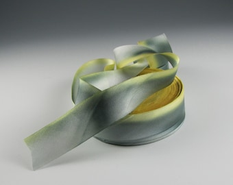 "1""  YELLOW GRAY Silk Satin RIBBON Hanah   Canary  3  yd length"