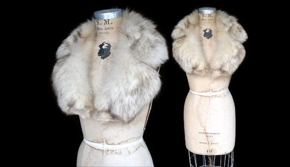 Fox Fur Collar / 1960s silver fox / clip on