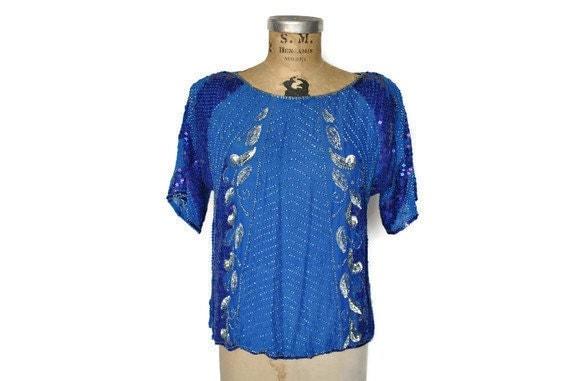 Sequin Top Blouse / ocean blue / 1980s glam / S-L