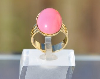 Pink opal glass ring