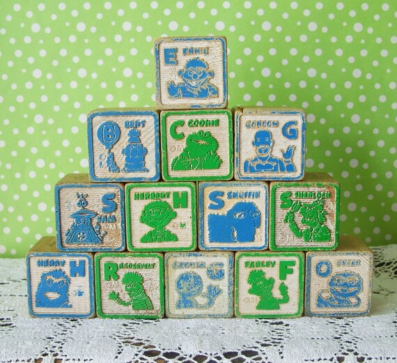 Vintage Wooden Alphabet Sesame Street Blocks Lot Of 13