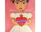 FRIDA KAHLO WITH Sacred Heart - Original Art (7 x 9 inches)