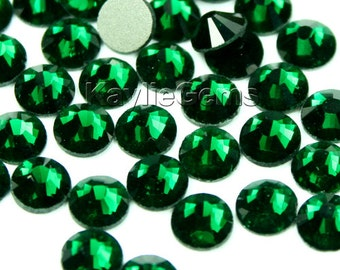 Crystal Rhinestone Flat Back Non- Hot Fix, SS6/2mm, SS8/2.4mm, SS10/2.8mm, SS12/3mm, SS16/4mm - 72 pcs - Emerald - Pick your size