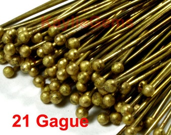 Head pins Ball Tip Head End RAW BRASS 50mm 2 inches, 21 Gauge, Thick Strong -50pcs