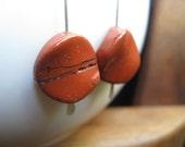brick jasper earrings. sterling silver earrings. burnt orange earrings. splurge. - Splurge