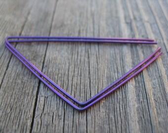 purple earrings. triangle hoops in anodized niobium. purple wire jewelry