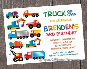 Construction Work Trucks Birthday Invitation