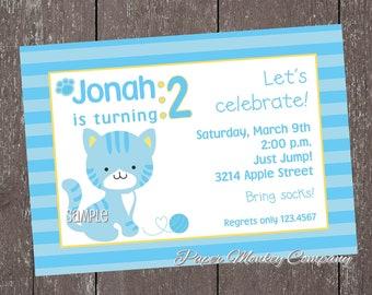 Blue Kitten Birthday Invitation