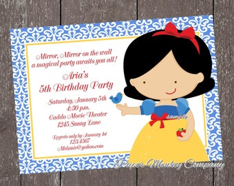 Custom Printed Princess Birthday Invitations - 1.00 each with envelope