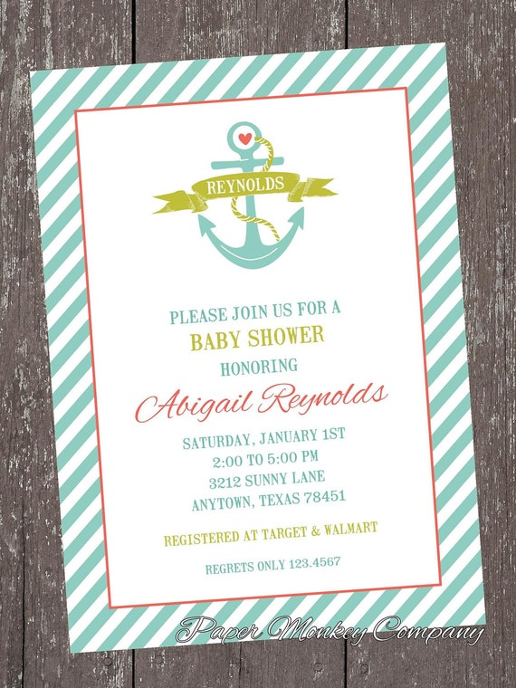 nautical anchor baby shower invitations by pmcinvitations on etsy