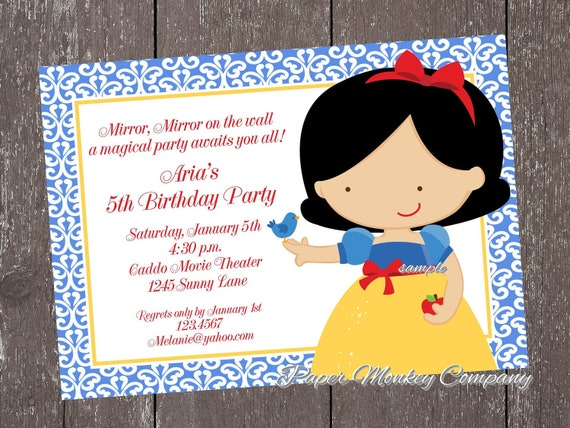 Custom Printed Princess Birthday Invitations 100 each with