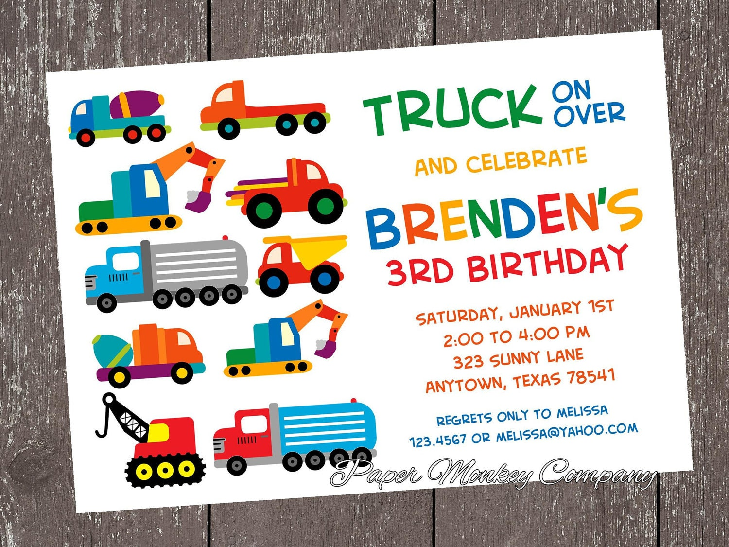 Truck Birthday Invitations