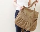 New Year SALE - 40% OFF Kangaroo Max in Khaki / Shoulder Bag / Tote / Diapers Bag / Purses / Hobo / Handbags / School  / Women / For Her