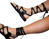 Black Gladiator Leather Sandals for Men & Women (Triple Design) - Gladiator Sandals, Jesus Sandals, Genuine Handmade Leather Sandals
