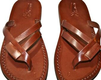 Brown Hoya Leather Sandals For Men & Women - Handmade Sandals, Leather Flip Flops, Jesus Sandals, Unisex Sandals, Brown Leather Sandals