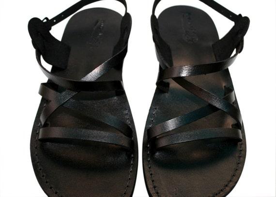 Black Star Leather Sandals for Men & Women - Handmade Unisex Sandals, Flip Flop Sandals, Jesus Sandals, Genuine Leather Sandals