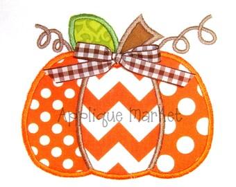 Machine Embroidery Design Applique Pumpkin Three Fabrics INSTANT DOWNLOAD