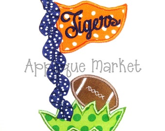 Machine Embroidery Design Applique Football Pennant Grass 3D INSTANT DOWNLOAD
