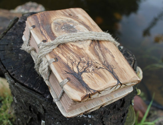 Coptic stich rustic wood journal  7 1/2  x 6  with 2 Trees of Life Notepad Notebook Diary Sketchbook
