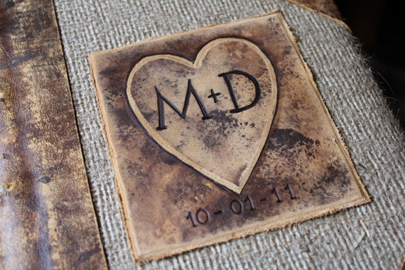 Custom Wedding Guest Book leather and burlap with heart and initials rustic wedding guest book bridal shower engagement anniversary