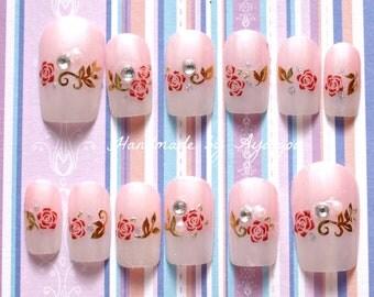 wedding nail, bridal nail, french nails, pink nail, pretty nail, Japanese nail art, nail set, acrylic nails, false nails, fake nails