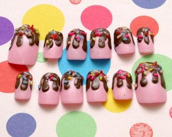 Chocolate drip nails, sprinkle nails, fake sweet nails, strawberry nails, 3D nails, Japanese nail art, kawaii nails
