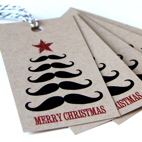 Mustache Tree Merry Christmas Tags or Package Labels on KRAFT (Qty. 10)