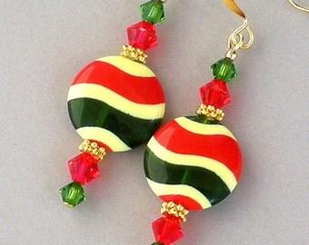 Striped earrings, red, green and yellow earrings, Christmas earrings