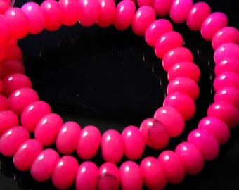 8 pc- Smooth Hot Pink Rondelle Jade Beads, 10x5mm
