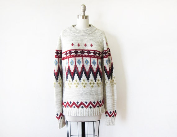 1970s sweater / vintage 70s tribal sweater / 70s bohemian knit pullover sweater