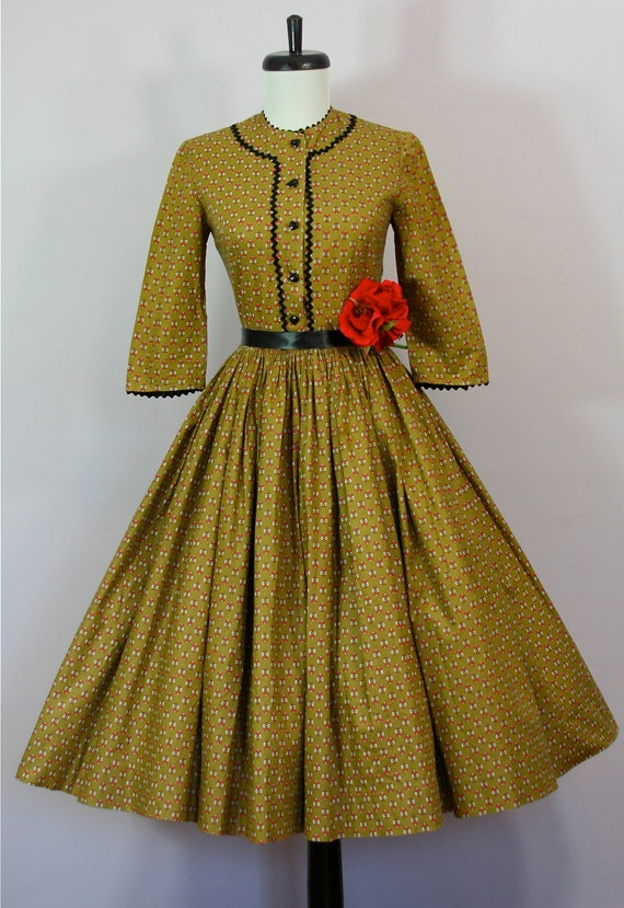Vtg 1950s Olive Green Octoberfest Harts & Flowers Dirndl German Folk Dress XS S