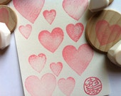 love heart stamps. hand carved rubber stamp. diy valentine's day birthday wedding scrapbooking. gift tag card making. mounted. choose one