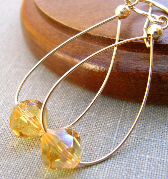 Swarovski Crystal Earrings, Gold Filled Hand Forged Hoop