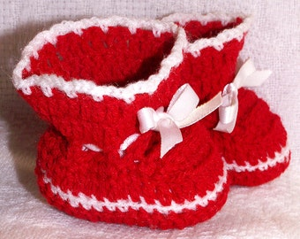 BABY BOOTIES Hand Crochet CHRISTMAS Valentine's Day Red & White Infant Shoes Preemie Reborn Doll Shower Gift
