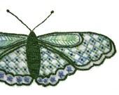 DIY pdf Crewel Embroidery Kit Pattern Garden Green Long Wing Butterfly digital download