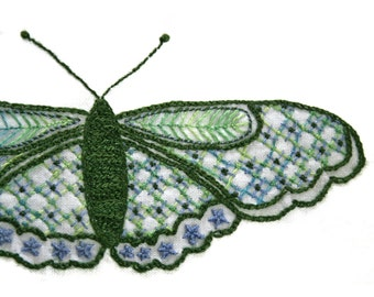 Crewel Embroidery Kit  DIY Pattern pdf Garden Green Long Wing Butterfly digital download