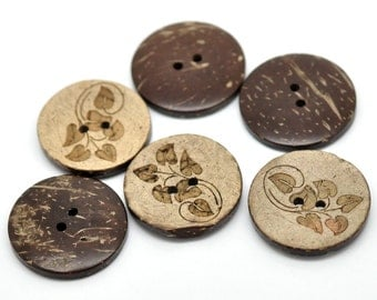 6 Brown Leaf pattern Coconut Shell Buttons 28mm - Natural and Eco Friendly round sewing button  (BC605A)