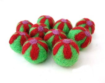 Felt Balls Lime and Red Flower - 10 Pure Wool Beads 20mm -