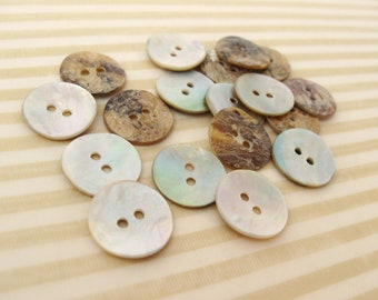Mother of Pearl Shell Buttons 15mm - set of 12 eco friendly natural buttons  (BN653)
