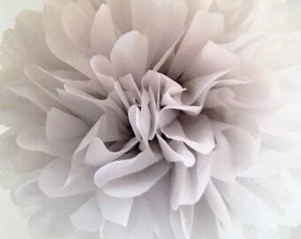 DOVE GRAY / 1 tissue paper pom pom / wedding decorations / silver anniversary / nursery poms / gray decorations / pompoms / baby shower