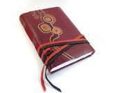 Chic Red Leather Journal, Notebook, Diary, Sketchbook with Hand Painted Leather Cover - CHRISTMAS DISCOUNT SALE