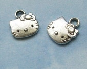 10 Hello Kitty charms, silver tone, 13mm