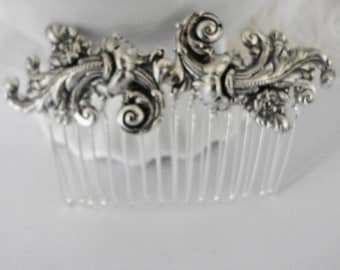 Free Shipping Bridal hair Comb Silver FIligree Ornate french Scrolls Old Hollywood Updo Retro Estate Style Weddings Bridesmaids shabby chic