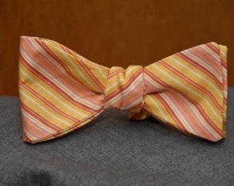 Orange Sherbet Striped  Bow Tie