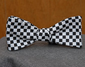 Black and White Checkered  Bow Tie