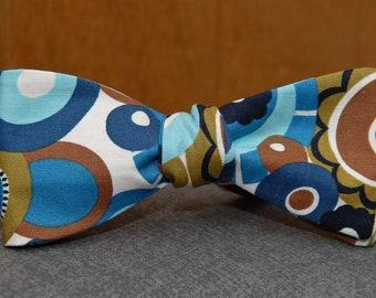 Blue Brown Art Deco  Bow Tie