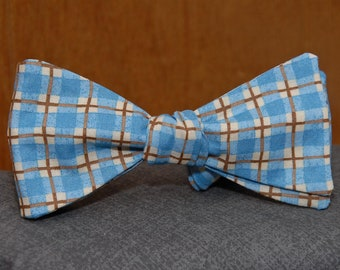 Light Blue and Brown Plaid  Bow Tie